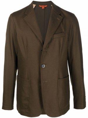 Однобортный пиджак из смесовой шерсти Barena. Цвет: зеленый