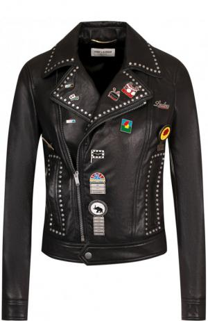 Кожаная куртка на молнии с декоративной отделкой Saint Laurent. Цвет: черный