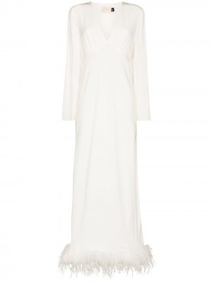 Шелковое платье Jazi с перьями Rixo. Цвет: белый