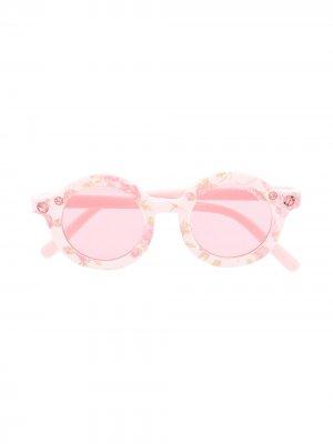 Солнцезащитные очки в круглой оправе Monnalisa. Цвет: розовый