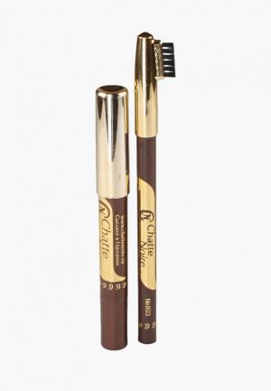 Набор для макияжа бровей Chatte Noire Карандаш + Карандаш-тени №117 3,46. Цвет: коричневый