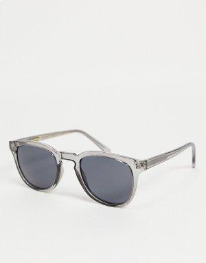 Круглые солнцезащитные очки в стиле унисекс с серыми прозрачными стеклами Bate-Серый A.Kjaerbede