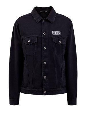 Куртка-oversize из плотного денима с объемным принтом VLTN VALENTINO. Цвет: черный