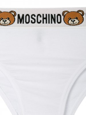 Брифы с логотипом Moschino. Цвет: белый
