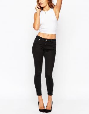 Выбеленные черные джинсы скинни с классической талией ASOS Lisbon DESIGN. Цвет: черный