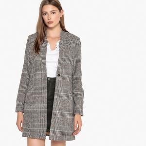Пальто прямого покроя из полушерстяной ткани BEST MOUNTAIN. Цвет: в клетку шоколадный/бежевый