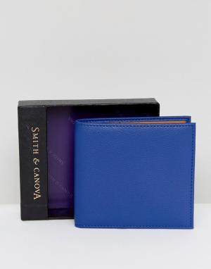 Кожаный бумажник -Темно-синий Smith And Canova