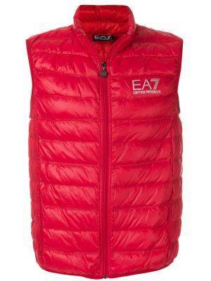 Утепленный жилет с логотипом Ea7 Emporio Armani. Цвет: красный