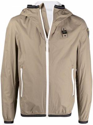 Куртка на молнии с капюшоном и логотипом Blauer. Цвет: зеленый