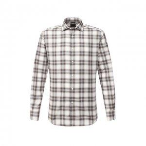 Хлопковая рубашка Ermenegildo Zegna. Цвет: серый