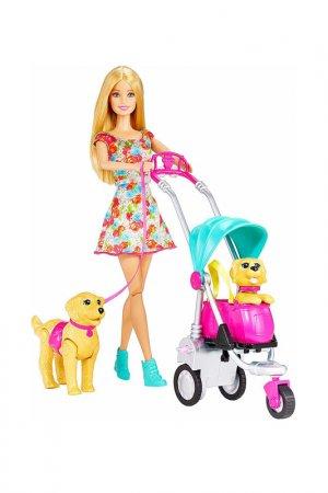 Барби прогулка со щенками Barbie. Цвет: бежевый