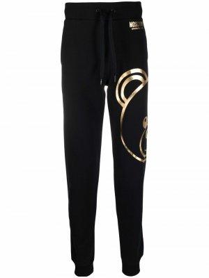 Спортивные брюки с принтом Teddy Moschino. Цвет: черный