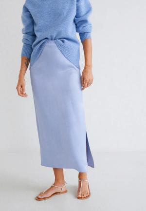 Юбка Mango - SATIN. Цвет: голубой