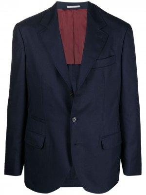 Кашемировый пиджак Brunello Cucinelli. Цвет: синий