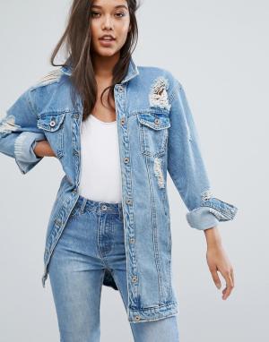 Состаренная джинсовая куртка Missguided. Цвет: серый