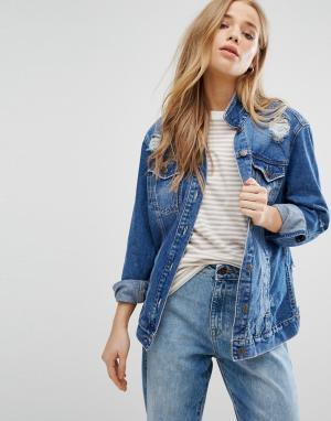 Джинсовая куртка с прорехами New Look. Цвет: синий
