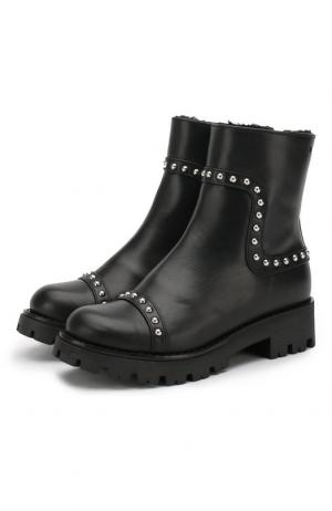 Кожаные ботинки на молнии с внутренней меховой отделкой Dsquared2. Цвет: черный