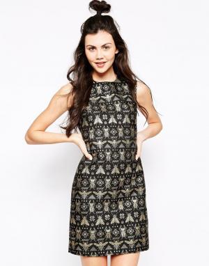 Жаккардовое платье с насекомыми Emma Cook. Цвет: черный
