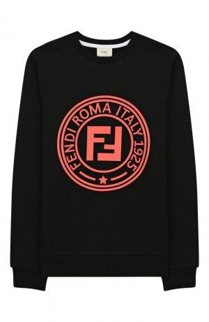 Хлопковый свитшот Fendi. Цвет: черный