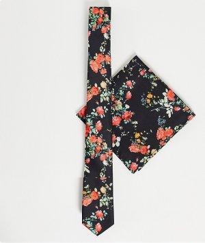 Узкий галстук c цветочным принтом на черном фоне и платок для нагрудного кармана -Черный цвет ASOS DESIGN