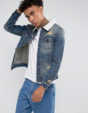 Синяя джинсовая куртка с воротником из искусственного меха Cayler & Sons. Цвет: синий