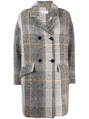 Двубортное пальто в клетку Patrizia Pepe. Цвет: черный