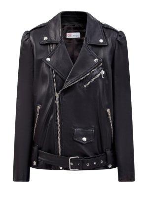 Куртка-косуха из кожи наппа с объемными рукавами REDVALENTINO. Цвет: черный