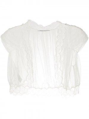 Lace-embellished tulle shawl Alberta Ferretti. Цвет: белый
