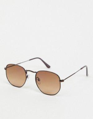 Коричневые солнцезащитные очки в шестигранной оправе -Коричневый цвет River Island