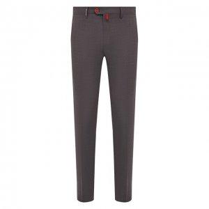 Шерстяные брюки Kiton. Цвет: серый
