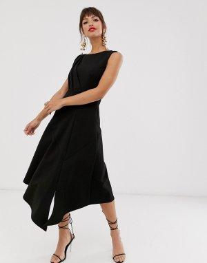 Черное платье миди без рукавов -Черный Closet London