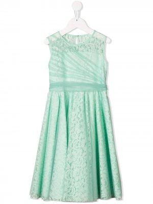 Многослойное кружевное платье миди Aletta. Цвет: зеленый