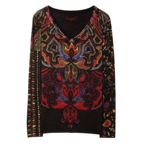 Пуловер из тонкого трикотажа с принтом DESIGUAL. Цвет: черный наб. рисунок