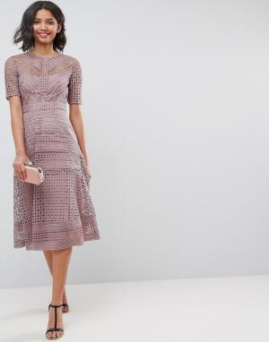 Кружевное платье миди ASOS PREMIUM Occasion DESIGN