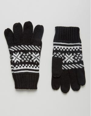 Перчатки с узором Фэйр-Айл 7X. Цвет: черный