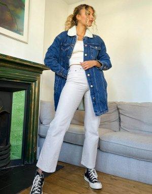 Синяя джинсовая oversize-куртка с воротником из овчины -Синий Only