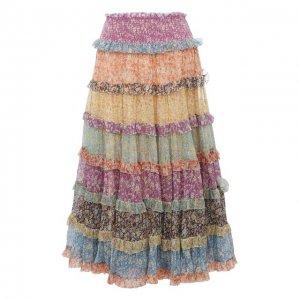 Шелковая юбка Zimmermann. Цвет: разноцветный