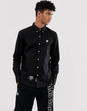 Черная приталенная рубашка с нашивкой AAPE By A Bathing Ape. Цвет: черный