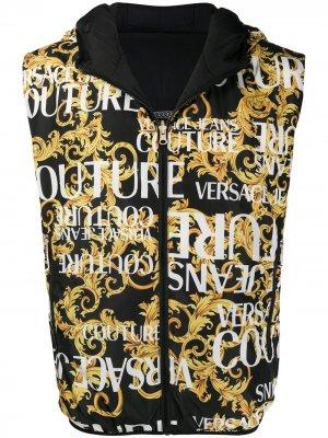 Двусторонний дутый жилет Versace Jeans Couture. Цвет: черный