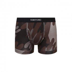 Хлопковые боксеры Tom Ford. Цвет: коричневый