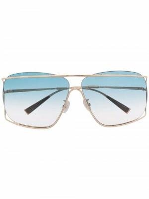 Солнцезащитные очки в двойной квадратной оправе Max Mara. Цвет: золотистый