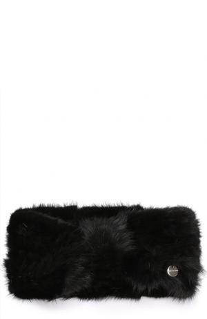 Повязка на голову из меха норки Yves Salomon. Цвет: черный