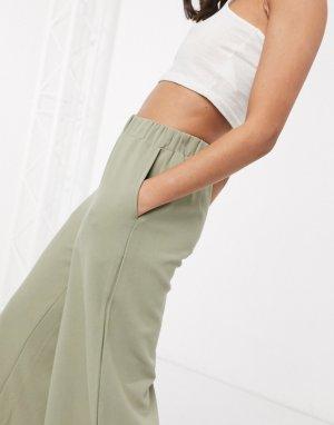 Зеленые широкие брюки -Зеленый Dr Denim