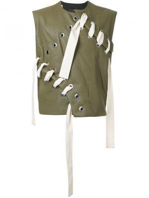 Кожаный жилет со шнуровкой Craig Green. Цвет: зелёный