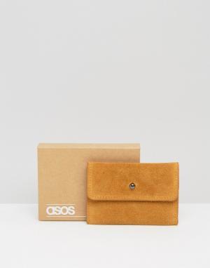 Светло-коричневая кожаная визитница-конверт ASOS. Цвет: рыжий