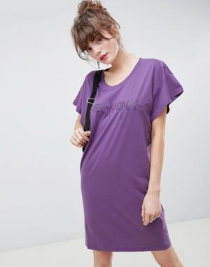 Платье-футболка Hacker Outline Media-Фиолетовый Cheap Monday