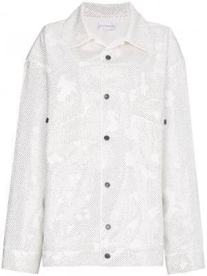 Джинсовая куртка кроя оверсайз со стразами Faith Connexion. Цвет: белый