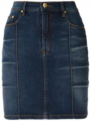 Джинсовая юбка Cris с завышенной талией Amapô. Цвет: синий