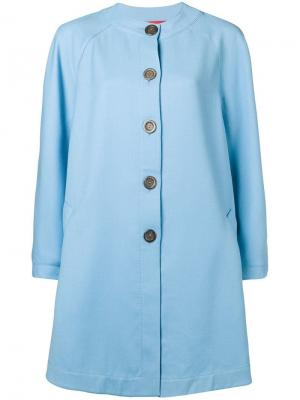 Пальто расклешенное без воротника Emanuel Ungaro Pre-Owned. Цвет: синий