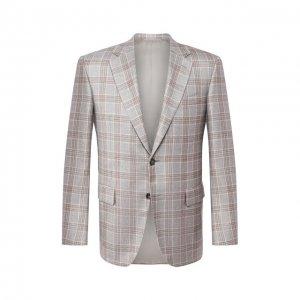 Пиджак из шелка и кашемира Canali. Цвет: серый